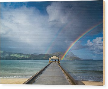 Hanalei Bay Pier And Double Rainbow Wood Print by Roger Mullenhour