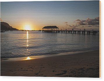 Hanalei Bay Sunset Wood Print by Brian Harig
