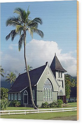 Hanalei Church 2 Wood Print