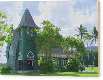 Hanalei Church Wood Print by Mary Deal