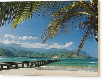Hanalei Pier And Beach Wood Print by M Swiet Productions