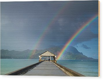 Hanalei Pier And Double Rainbow Wood Print by Roger Mullenhour