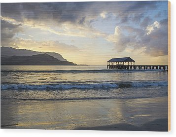 Hanalei Pier Sunset Wood Print by Saya Studios