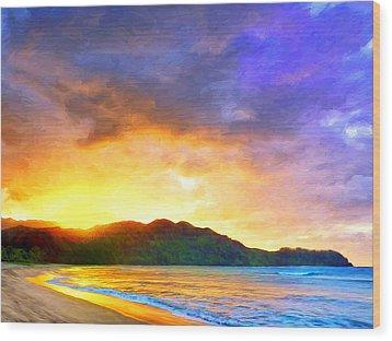 Hanalei Sunset Wood Print