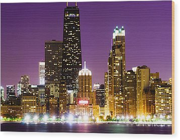 Hancock Building At Night In Chicago Wood Print by Paul Velgos