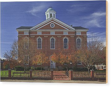 Hancock County Courthouse Wood Print by Wendell Thompson