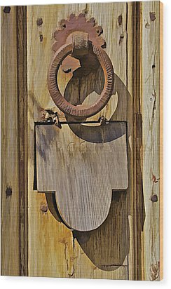 Hand Forged Iron Door Handle Wood Print by David Letts