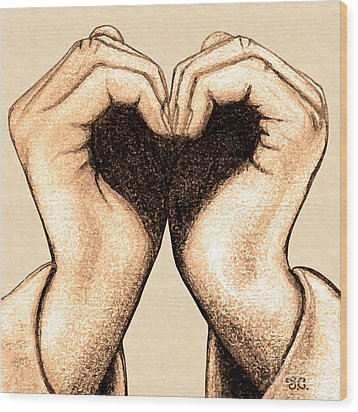 Hand Heart Wood Print by Jaison Cianelli