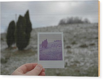 Hand Holding Polaroid - Concept Image For Memory Or Time Or Past Wood Print by Matthias Hauser