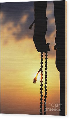 Hand Holding Rudraksha Beads Wood Print by Tim Gainey