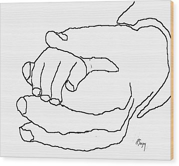 Hand In Hand Wood Print by R  Allen Swezey