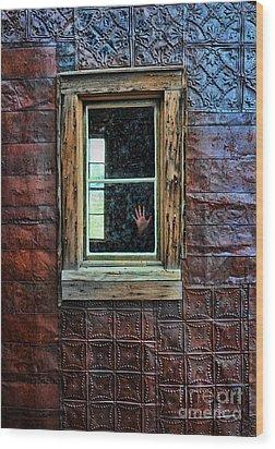 Hand On Old Window Wood Print by Jill Battaglia