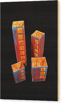 Hand Painted Glass Set Of Four Reds Wood Print