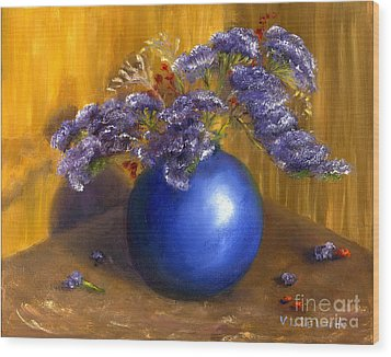 Hand Painted Still Life Blue Vase Purple Flowers Wood Print by Lenora  De Lude