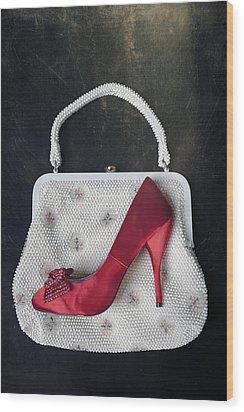 Handbag With Stiletto Wood Print by Joana Kruse