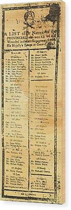 Handbill: Casualties, 1775 Wood Print by Granger
