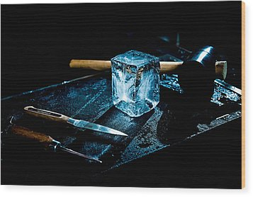 Handcrafted Icecube Wood Print by Wolfgang Simm