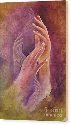 Hands Wood Print by Allison Ashton