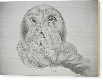 Hands Holding Cristal Ball Wood Print by Glenn Calloway