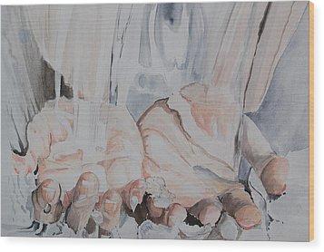 Hands In Water Wood Print