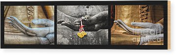Hands Of Buddha Wood Print by Adrian Evans