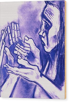 Wood Print featuring the drawing Hands Of Question by Kenneth Agnello
