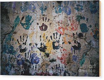 Hands On Wall Wood Print by Eva Kato