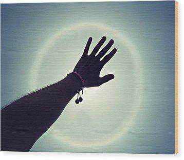 Hands Up Wood Print by Cyryn Fyrcyd