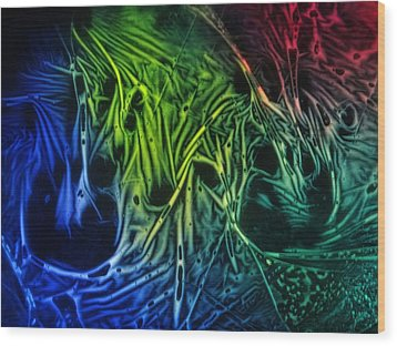 Wood Print featuring the photograph chemiluminescence photography Handprint by David Mckinney