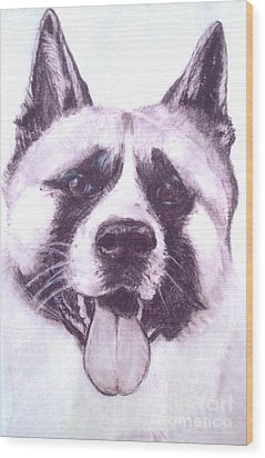 Handsome Akita Wood Print by Lucia Grilletto