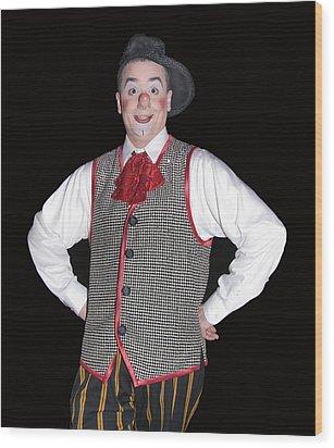 Handsome Clown At The Circus Wood Print by Susan Leggett