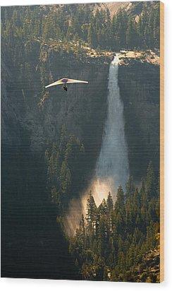 Hang Glider In Yosemite National Park Wood Print
