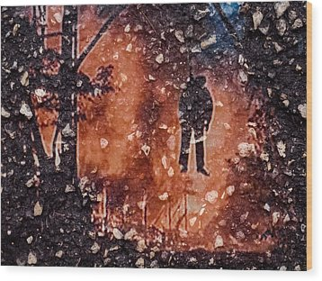 Hang Man In Stone Wood Print by Randy Sylvia