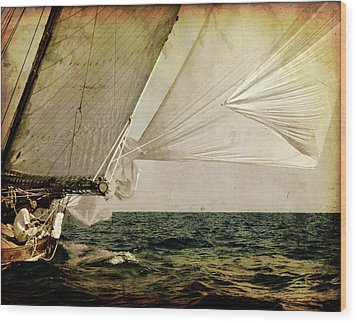 Wood Print featuring the photograph Hanged On Wind In A Mediterranean Vintage Tall Ship Race  by Pedro Cardona