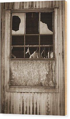 Hangers In The Window Wood Print by Randy Bayne