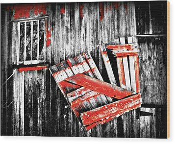 Hanging By A Few Nails Bw Wood Print by Julie Hamilton