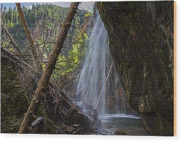 Hanging Lake Falls Wood Print by Michael J Bauer