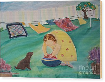 Hanging Laundry In The Summer Wind Wood Print by Teresa Hutto