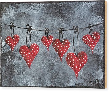 Wood Print featuring the painting Hanging On To Love by Oddball Art Co by Lizzy Love