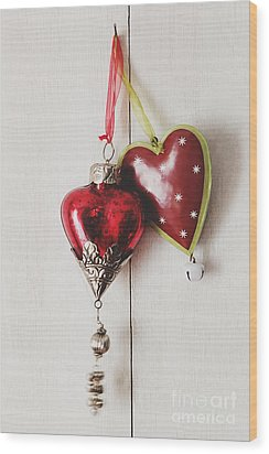 Wood Print featuring the photograph Hanging Ornaments On White Background by Sandra Cunningham