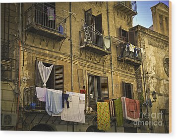 Hanging Out To Dry In Palermo  Wood Print by Madeline Ellis