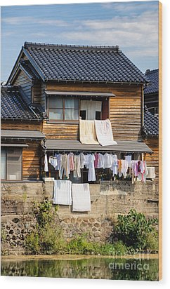 Hanging Out To Dry - Laudry Day In Japan Wood Print by David Hill