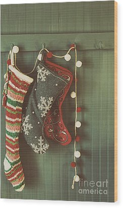Wood Print featuring the photograph Hanging Stockings Ready For Christmas by Sandra Cunningham