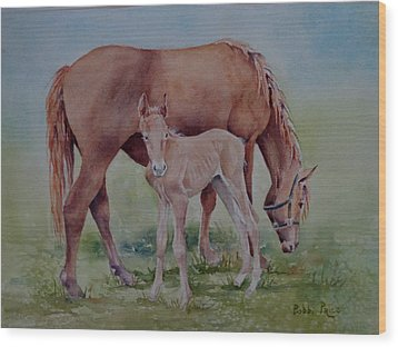 Hanging With Mom Wood Print by Bobbi Price