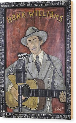 Hank Williams Wood Print by Eric Cunningham