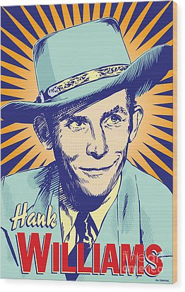 Hank Williams Pop Art Wood Print