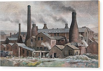 Hanley Pot Works Wood Print by Anthony Forster
