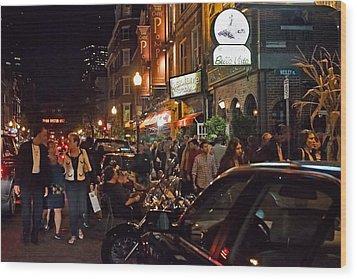 Hanover Street Nights - Boston Wood Print by Joann Vitali