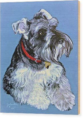 Wood Print featuring the painting Hans The Schnauzer Original Painting Forsale by Bob and Nadine Johnston