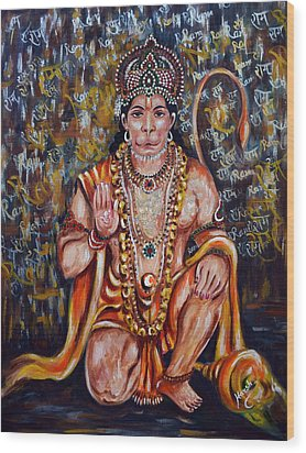 Wood Print featuring the painting Hanuman by Harsh Malik